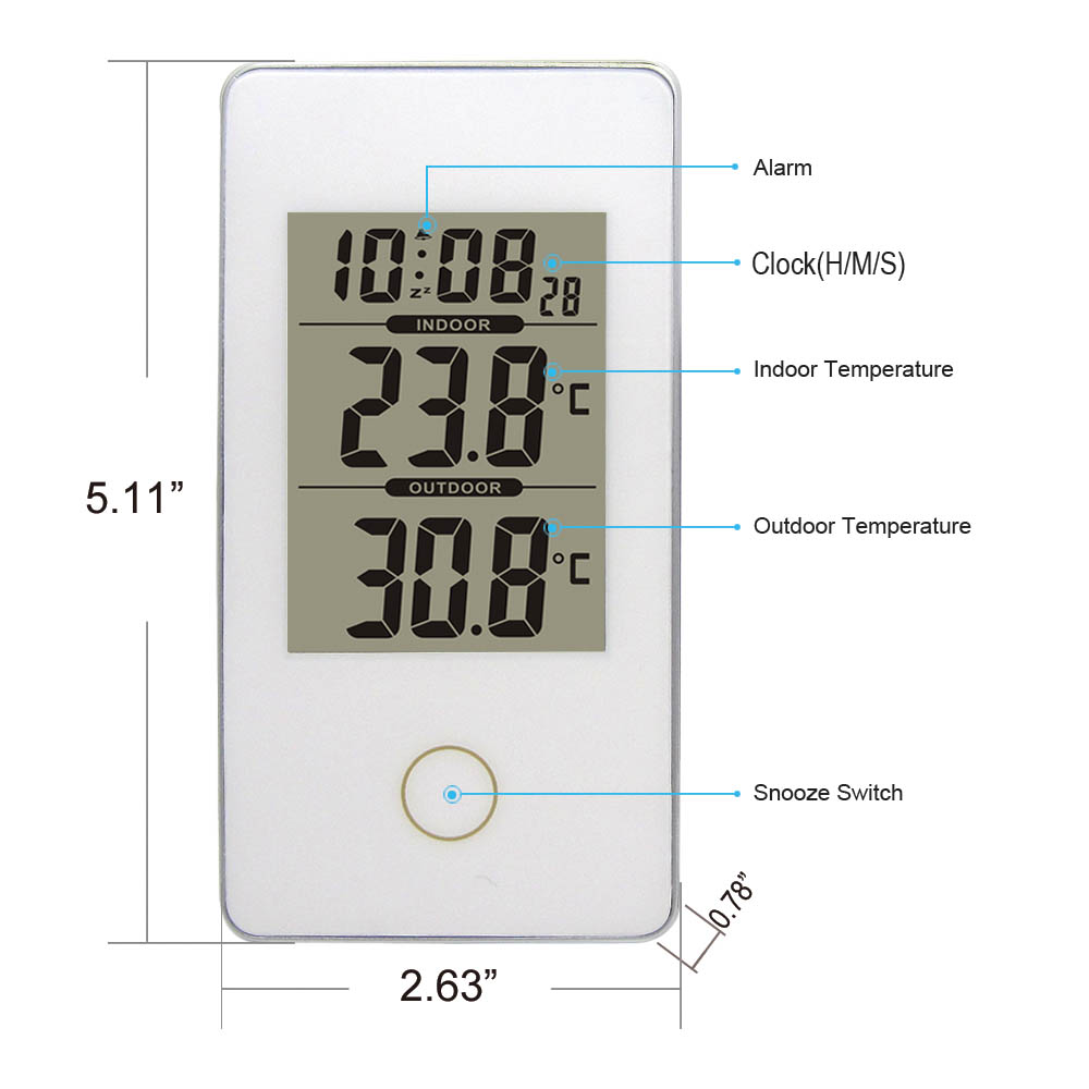 White Protable Home Wireless Weather Station with Indoor Outdoor ...