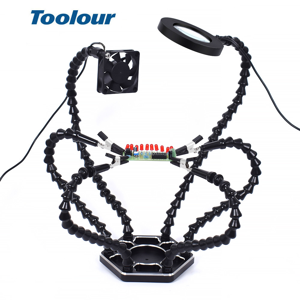 Toolour Multi Soldering Station Helping Third Hand 3X USB LED Magnifying Glass Lamp USB Fan  For PCB Welding Repair Station  Too