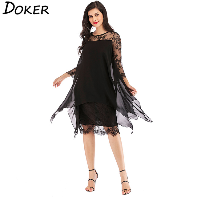 2019 New Lace Chiffon Patchwork Dress Women O-neck 3/4 Sleeve Loose A-line Dress Ladies Elegant Hollow Evening Party Dress 5XL 3
