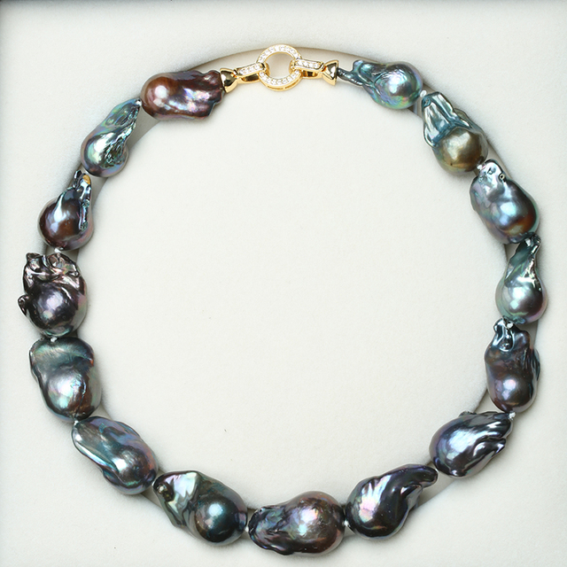 Natural Black Baroque Pearl Necklace 1