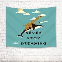 الإبداعية مزيج نسيج الزرافة للقيادة الحوت مع اقتباسات أبدا إيقاف يحلم جدار الفن hangingblack أبيض أصفر أكوا