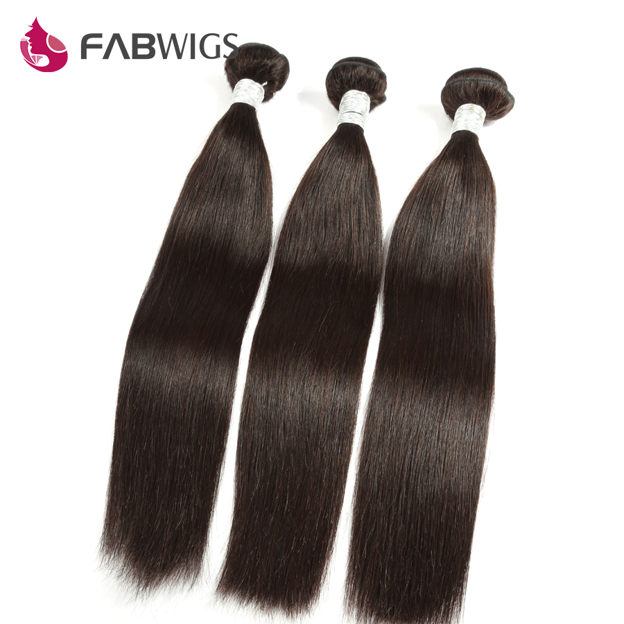 Fabwigs Hair Brazilian Straight Hair Weave Bundles Natural Color 3 Bundles Human Remy Hair Weave Extension Freeshipping-in 3/4 Bundles from Hair Extensions & Wigs    1