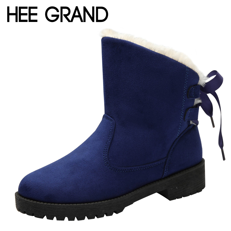 HEE GRAND 2017 Platform Riband Shoes Woman Winter Warm Women Ankle Boots Creepers Women Snow Boots 3 Colors Size 35-43 XWX6436 hee grand inner increased winter ankle boots warm fringe fashion platform women snow boots shoes woman creepers 3 colors xwx6180