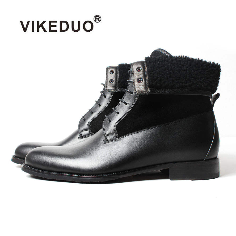 Vikeduo 2018 Handmade Black Classic Male Boot Fashion Casual Luxury Heel Genuine Leather Shoes Ankle Snow Winter Fur Men Boots vikeduo 2018 classic custom handmade fashion luxury office genuine leather boots designer winter snow crocodile dress men boots