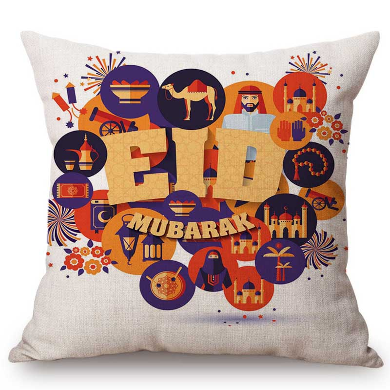 Muslim Ramadan Kareem Eid Mubarak Festival Home Decoration Sofa Cushion Cover Cartoon Hand Sketch Islam Mosque Throw Pillow Case