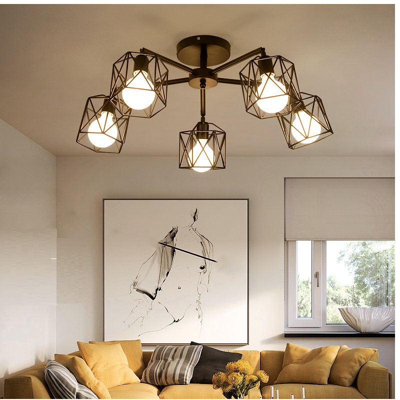 Wrought Iron Ceiling Lamp E27 Bulb Living Room Vintage Chandeliers Multiple Rod Lamparas for Home Lighting Fixtures