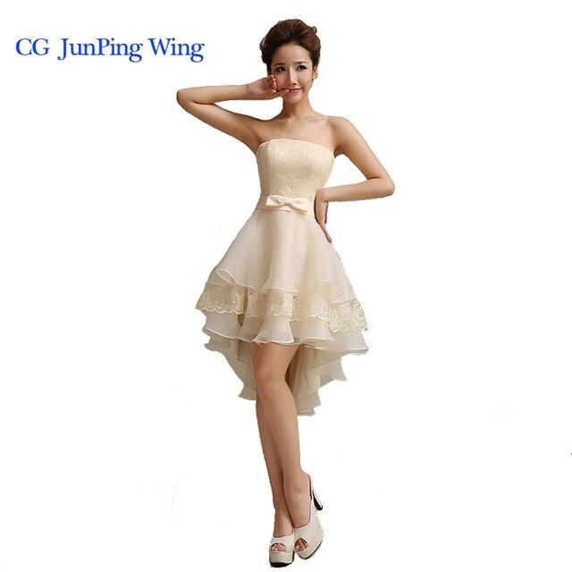 High Low Wedding Dresses Luxury Lace White Up Vestido De Festa Short Front Long Back