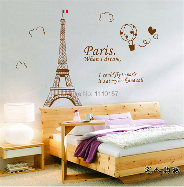 aliexpresscom buy hot sale giant eiffel tower decoration bedroom living room paris wall stickers modern decor free shipping from reliable decorative - Eiffel Tower Decor For Bedroom