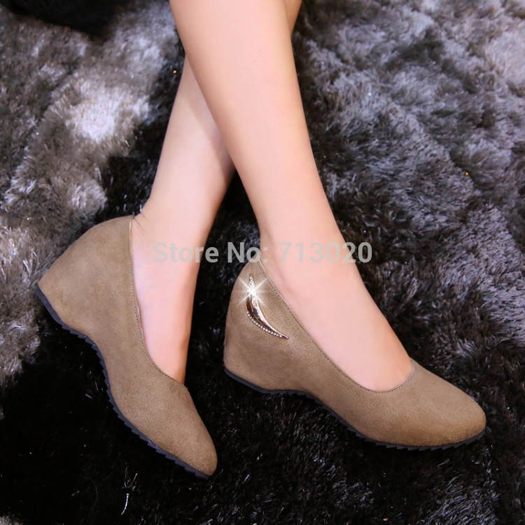 Plus size 34-49 New Spring summer Women Wedges Shoes Pointed Toe Work Shoes Women Pumps High Heels Ladies Casual Dress Pumps plus size 2017 new summer suede women shoes pointed toe high heels sandals woman work shoes fashion flowers womens heels pumps