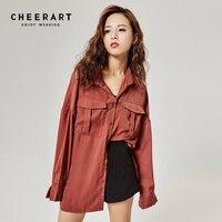 Cheerart Korean Blouse Women Loose Oversized Shirt Long Sleeve Brown Loose Cold Open Shoulder Tops Pockets