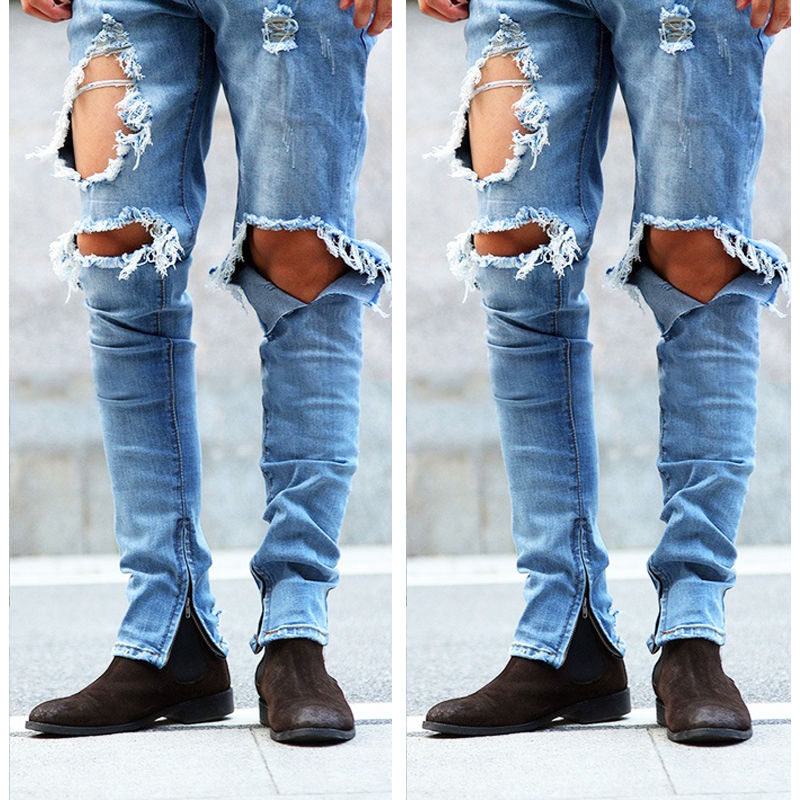 цена New Fashion Men Distressed Ripped Hole Jeans Moto Black Denim Pants Slim Skinny Fit Trousers Stylish Mens Skinnt Pencil Jeans онлайн в 2017 году