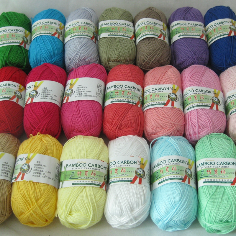 500g/lot, 10Pcs Soft Smooth Natural Bamboo Cotton Hand Knitting Yarn Baby Cotton Yarn Knitted By 2.25mm Needles