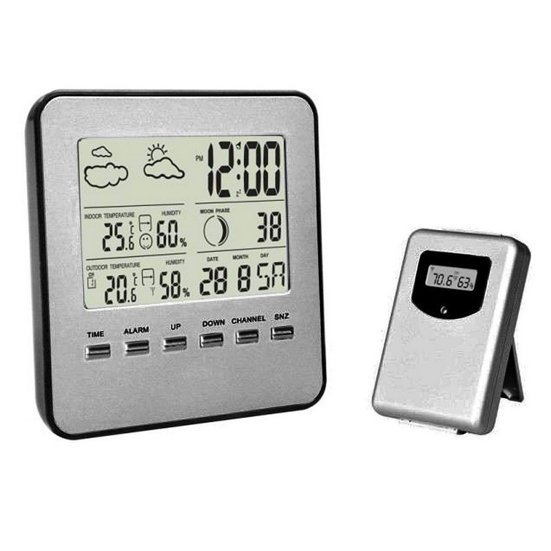 LCD Weather Station Touch Buttons In/outdoor Temperature Clock Humidity Digital clocks Wireless Sensor Thermometer mhaa2zm a