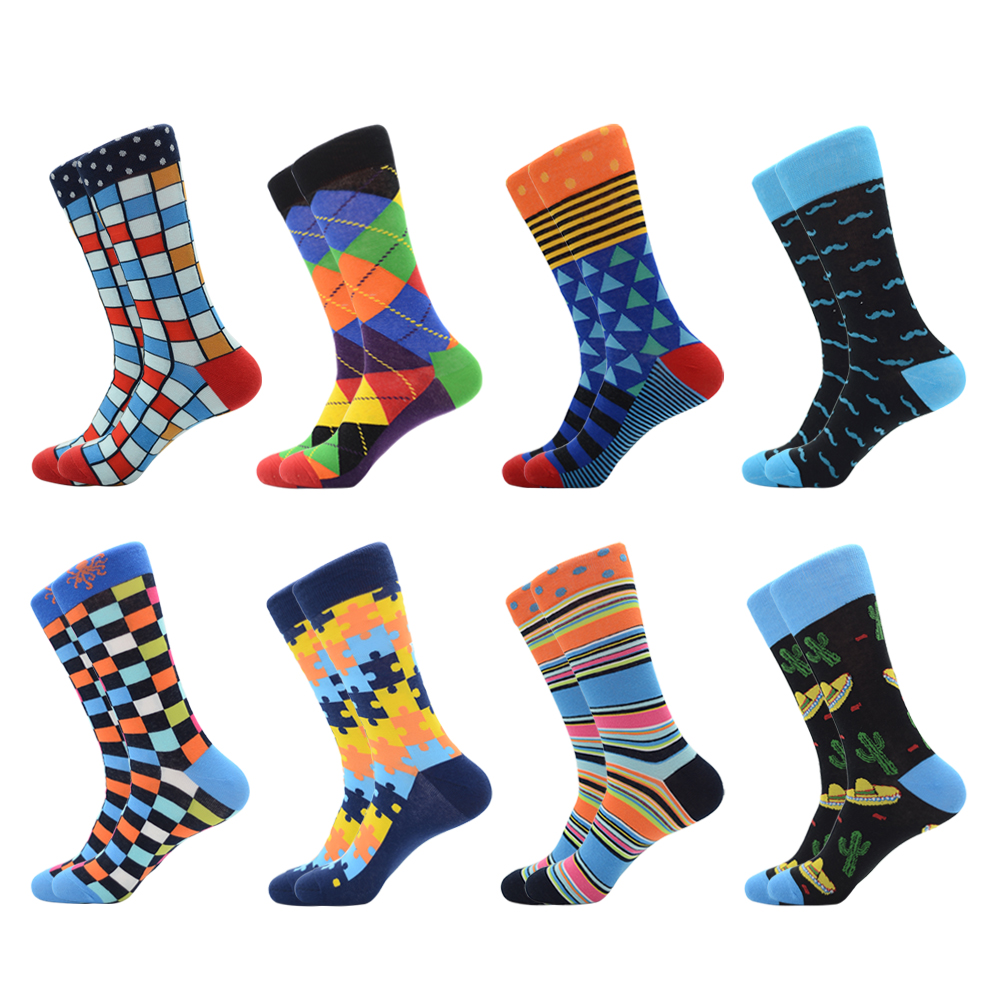New Arrival Colorful Men's Combed Cotton Funny Crew Casual Dress Socks Classic Lattice Diamond Stripe Pattern Novelty Happy Sock