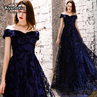 Kyunovia New sexy party evening dresses Off the Shoulder Long Dress A line prom dress lace beading Robe De Soiree dress E13