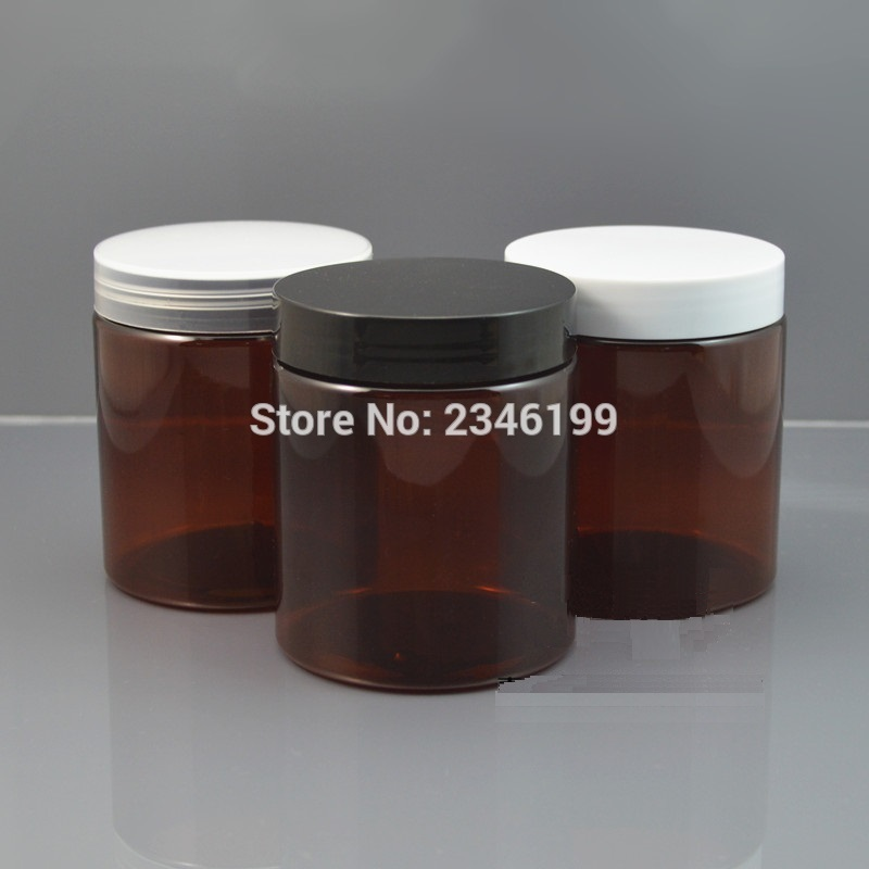 250G Plastic Jar Dark Brown Color Plastic Pot with Plastic Lid, Cosmetic Cream Packing Container PET Material. 10 pcs/Lot 100g white plastic cream jar with bamboo cover wooden lid empty cosmestics packing container high quality bamboo pot 10pcs lot