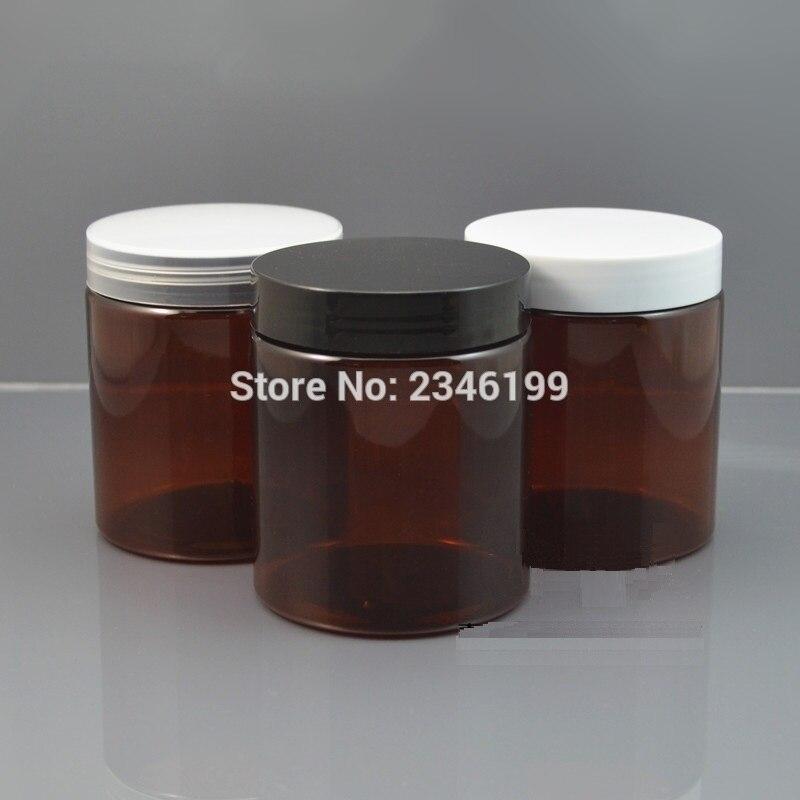 250G Plastic Jar Dark Brown Color Plastic Pot with Plastic Lid, Cosmetic Cream Packing Container PET Material. 10 pcs/Lot