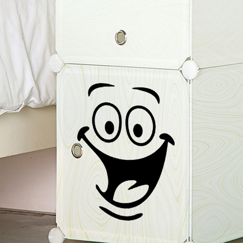 5PCS Fun Smile Face Stickers On The Fridge/Wall/Toilet/Bathroom Vinyl Walls Art Stickers Home Decor Wall Decals Decoration