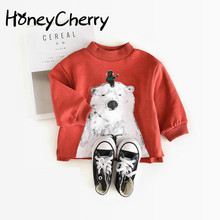 Children Sweater 2017 Autumn Female 0-1-2 Years Old Baby Bear Stamp Super Fashion Models Boys T Shirt Girls Tops