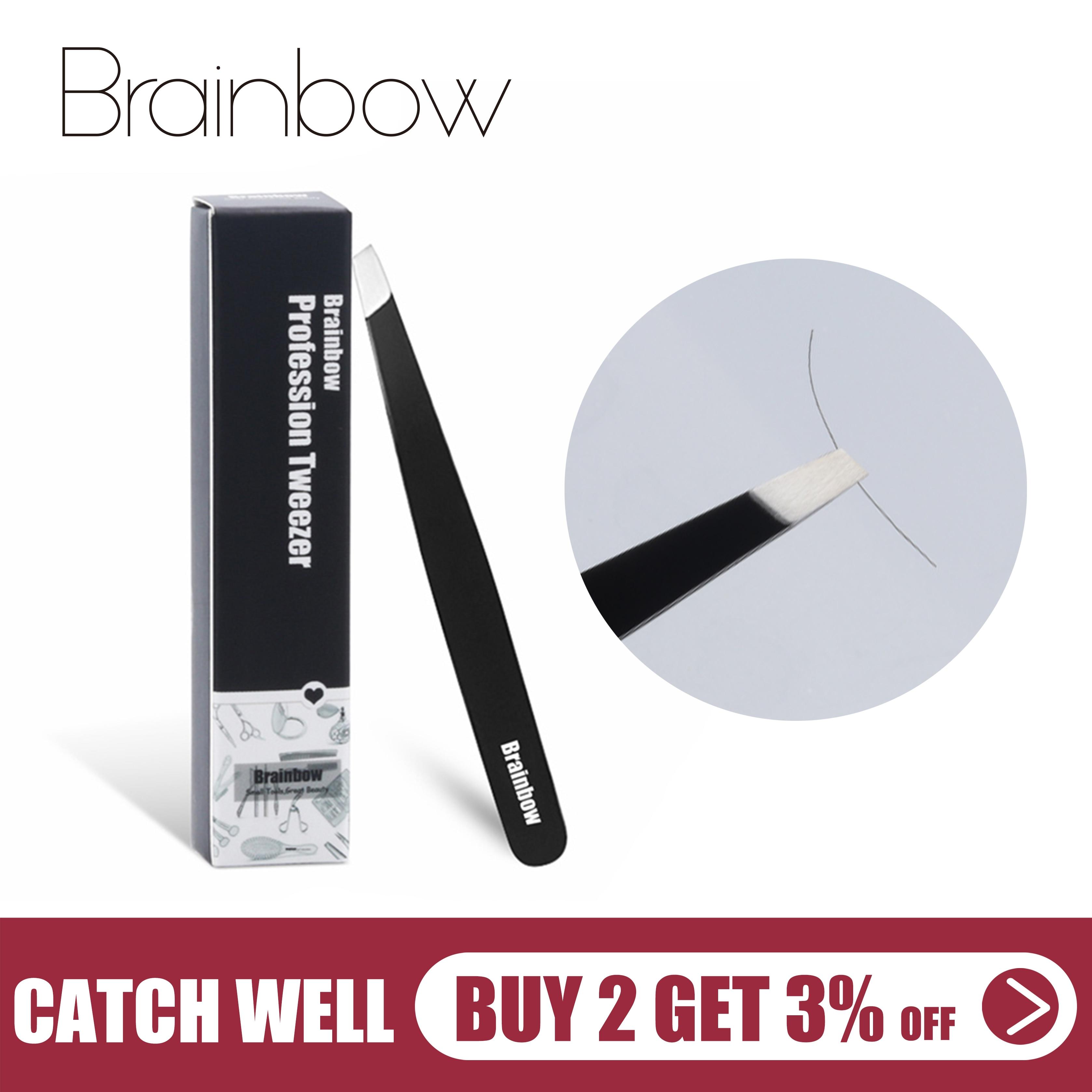 Brainbow 1pc Black Eyebrow Tweezer Eyelashes Extension Pinzette Double Eyelid Sticker Application Eyes Hair Removal Tool Make Up