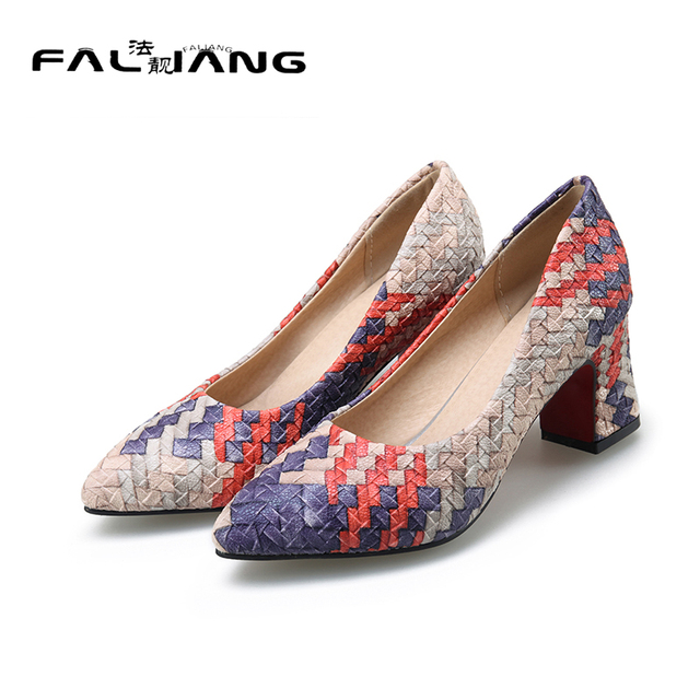 2017 New Casual Pointed Toe Square heel high heels pumps Big Size 11 12 Concise Shallow women shoes woman ladies womens