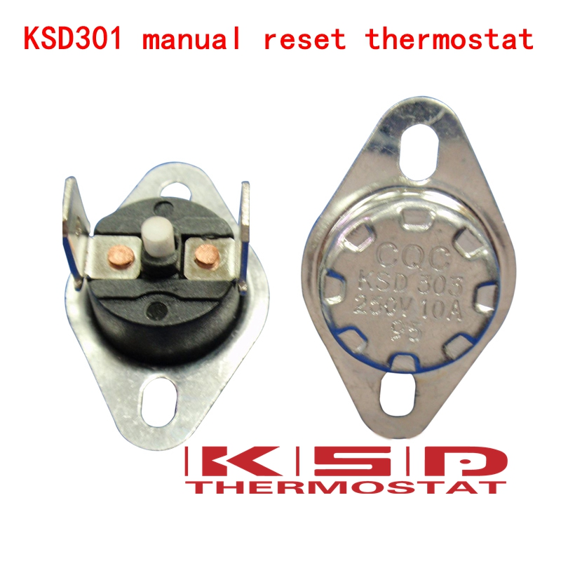 5pcs Manual Reset Temperature Switch 165 °C NC Bimetal disc thermostat KSD301
