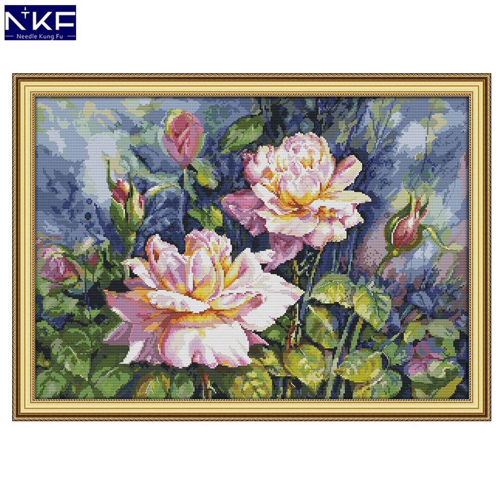 NKF Vintage Rose Stamped Cross Stitch Patterns 11CT14CT DIY Kits Needlework Embroidery Chinese Cross Stitch Sets For Home Decor
