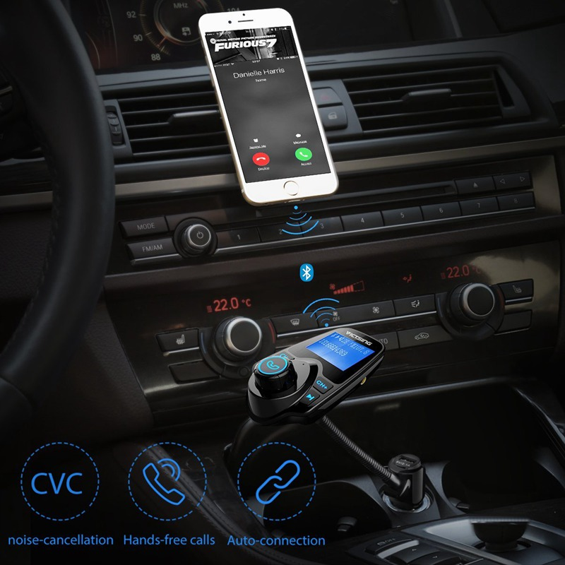 VicTsing Bluetooth FM Transmitter Wireless Car Radio Adapter MP3 Player FM  Modulator with Car Charger Hands-free Talking Car Kit