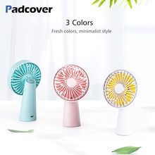 PADCOVER handheld USB fan portable 3 speed adjustable cooler mini rechargeable internal battery desktop