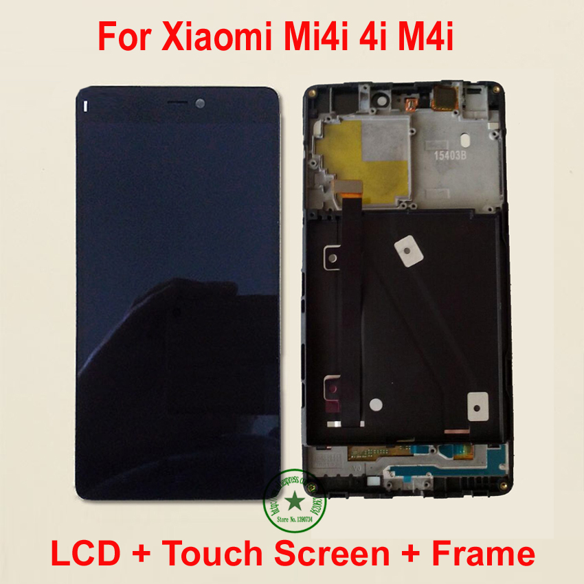 Black TOP Quality Full LCD Display + Touch Screen Digitizer Assembly with Frame For Xiaomi Mi4i Mi 4i M4i m4i Replacement Parts lcd screen assembly for apple iphone 4 4g lcd display touch screen digitizer pantalla with frame bezel replacement black white