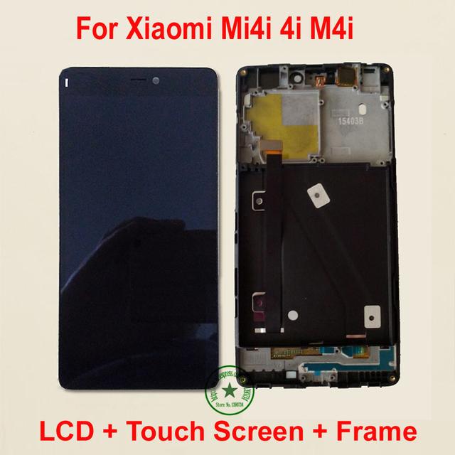 Qualidade SUPERIOR preto Completa LCD Display + Touch Screen Digitador Assembléia com moldura para xiaomi mi4i mi 4i m4i m4i peças de reposição