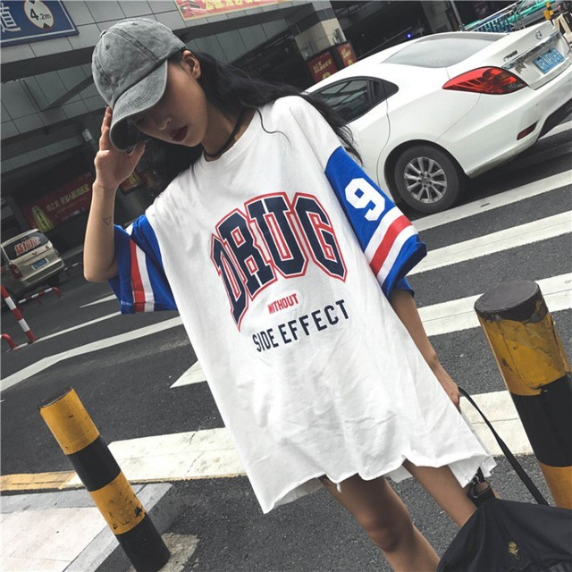 Harajuku Long T-Shirt Loose Letter Printed Women Tshirt Loose Female Tee Tops Large Size Summer T-Shirts