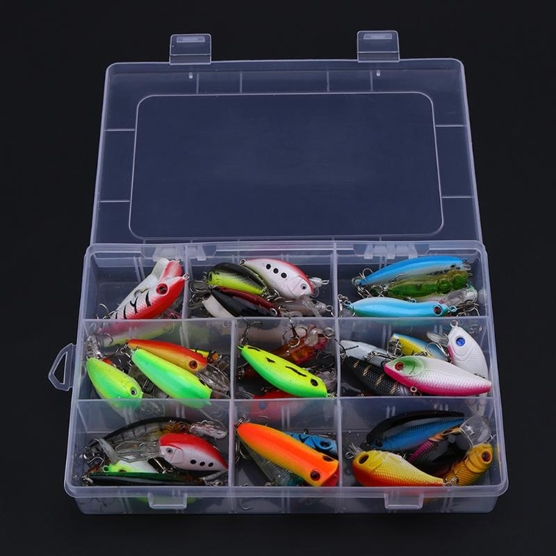 43Pcs Mixed Artificial Lure Set Wobblers Crankbait Hard Fishing Tackle Grip Hook Isca Artificial Bait Kit Pesca Carp Fishing New