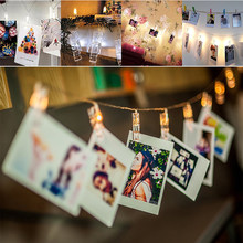 led clip string lights Garland fairy Christmas light 1.3M 10leds with 3*AA battery box Hanging photos party wedding decoration(China)