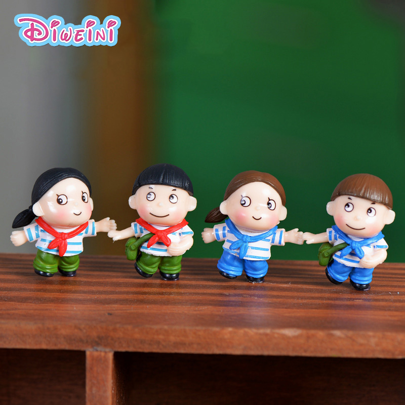 Young Pioneer Lover model Boy Girl Figurines Wedding Doll Miniatures Couple home Garden Decoration Girl toy DIY accessories gift