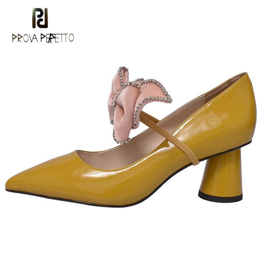 Prova Perfetto 2018 new butterfly knot decor single shoes women pumps genuine leather pointed toe high heel mary jane shoe mujer prova perfetto genuine leather lace up square high heel women pumps pointed toe rivet gladiator shoes british style single shoes