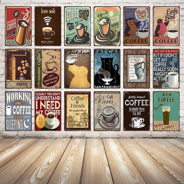 [Kelly66] קפה חנות ישן מתכת סימן פח פוסטר בית תפאורה בית קפה קיר עתיק אמנות ציור 20*30 CM גודל Dy23