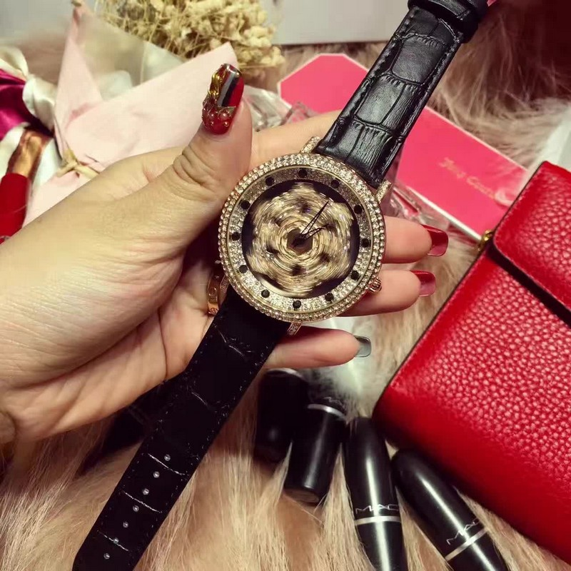 5 Colors Women Real Leather Watches Lady Shining Rotation Dress Watch Big Diamond Stone Wristwatch Lady