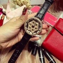5 Цветов! женщины Натуральная Кожа Часы Леди Сияющий Вращения Платье Смотреть Большой Алмаз Камень Наручные Часы Леди Натуральная Кожа Смотреть