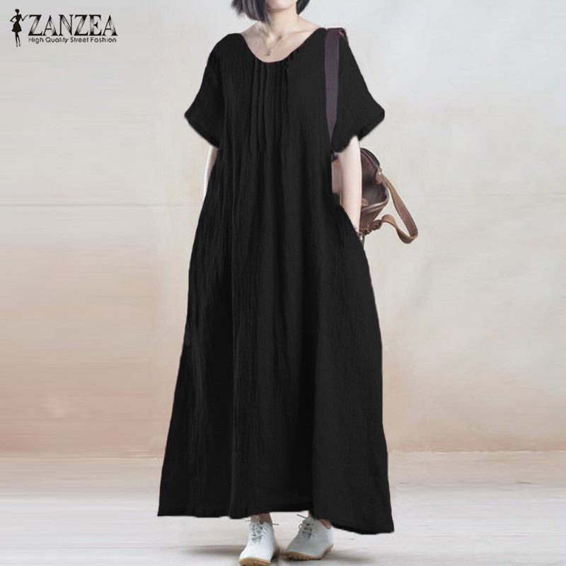 Buy Cheap Summer Dress 2017 ZANZEA Women Vintage Casual Loose Solid Long Maxi Dresses Short Sleeve O Neck Cotton Vestidos Plus Size