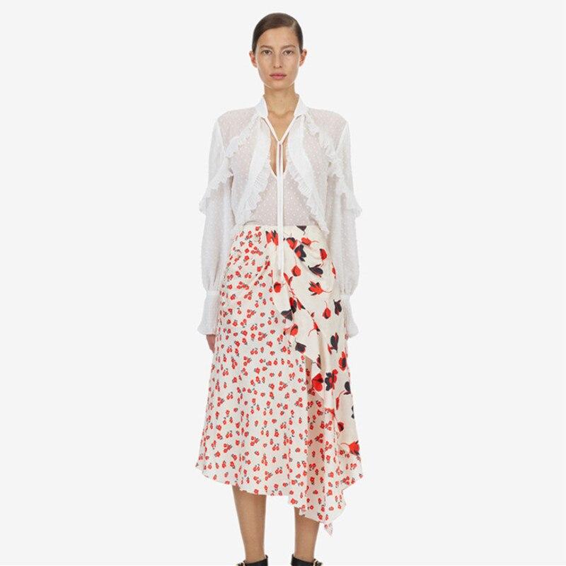 Blouse Ensemble Ruches 2019 Picture Printemps Pièces Hauts X359 Dames Jupe Blanc Neck V À Bureau Patchwork Été Longues Manches Deux As Costume Floral B6Cvqw6Y