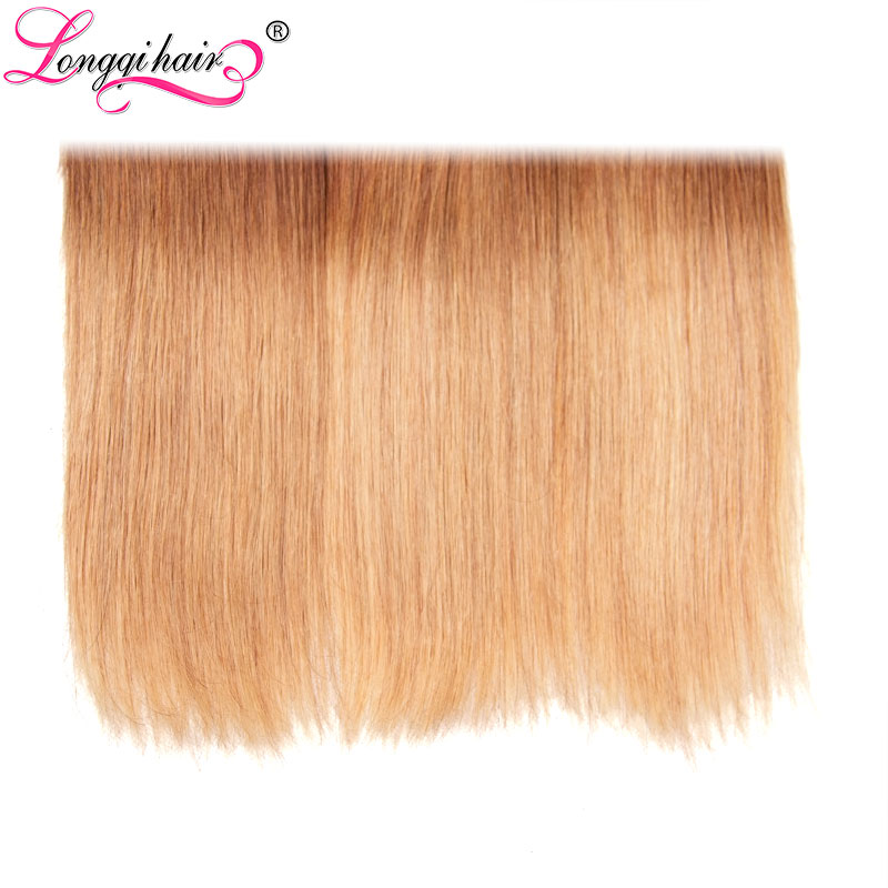 Longqi T1B/4/27 Ombre Straight Hair 3 Bundles with Lace Closure Free Part 4x4  Remy Brazilian Human Hair Extensions 16-26inch