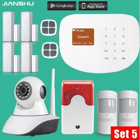 433mhz WIFI GSM Alarm Systems IOS Android APP Wireless House Security Alarm System with PIR motion detector 720P mini camera