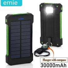 Solar Power Bank Waterproof 30000mAh Solar Charger 2 USB Ports Externa