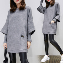 Hot Fall Autumn Fashion Women Gray Pink Loose Hoodie Tide Ladies Fake Two Pieces Sweatshirt Clothes Gifts 4XL