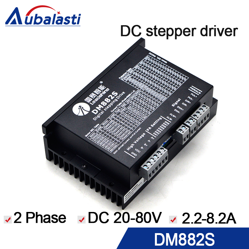 2 phase DC stepper motor driver leadshine DM882S DC 20-80V 8.2A 0.1A stepper driver use for cnc engraver and cutting machine 2 phase bus digital stepper motor driver ykd2608pc 6a dc24 80v motor driver stepper driver for cnc engraver and cutting machine