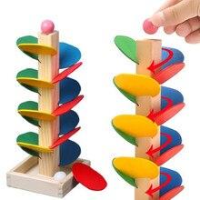 Montessori blocos de brinquedo educacional árvore de madeira bola de mármore correr pista jogo bebê crianças inteligência cedo juguetes educativos