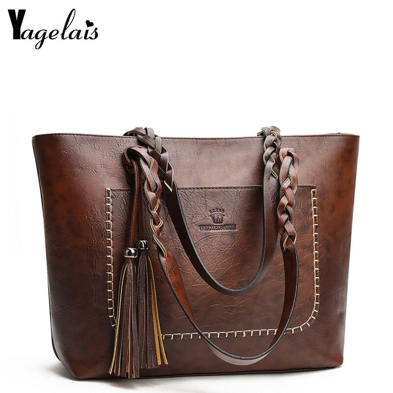 US $15.59 50% OFF|Kobiety Messenger torby skórzane codzienne luksusowe Tassel skórzane torebki damskie designerska torba Vintage duża torba na ramię