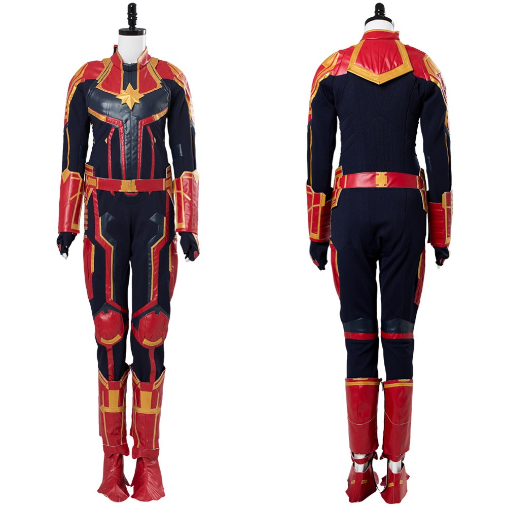 b894f4d491 Captain Marvel Carol Danvers green Cosplay Costume Outfit Women and kids  Halloween Carnival Cosplay Costumes