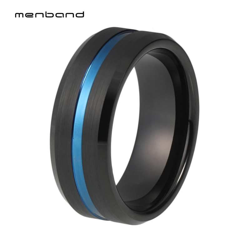 Black Blue Ring Mens Tungsten Carbide Ring 8mm Wedding Ring Grooved And Beveled Finish